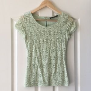 The Limited Mint Lace Blouse
